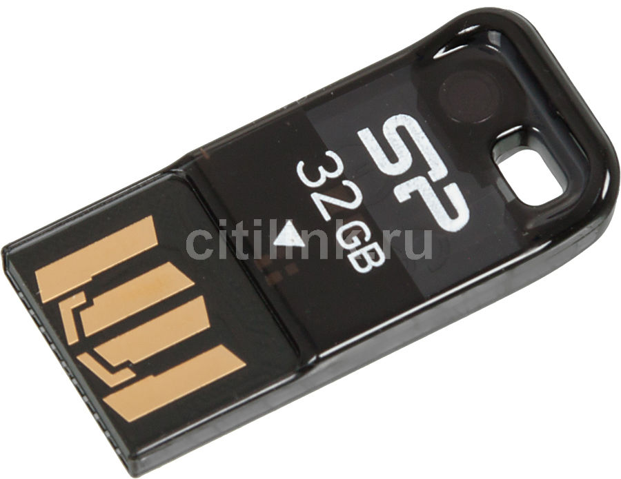 Флешка USB SILICON POWER Touch T02 32Гб, USB2.0, черный [sp032gbuf2t02v1k]