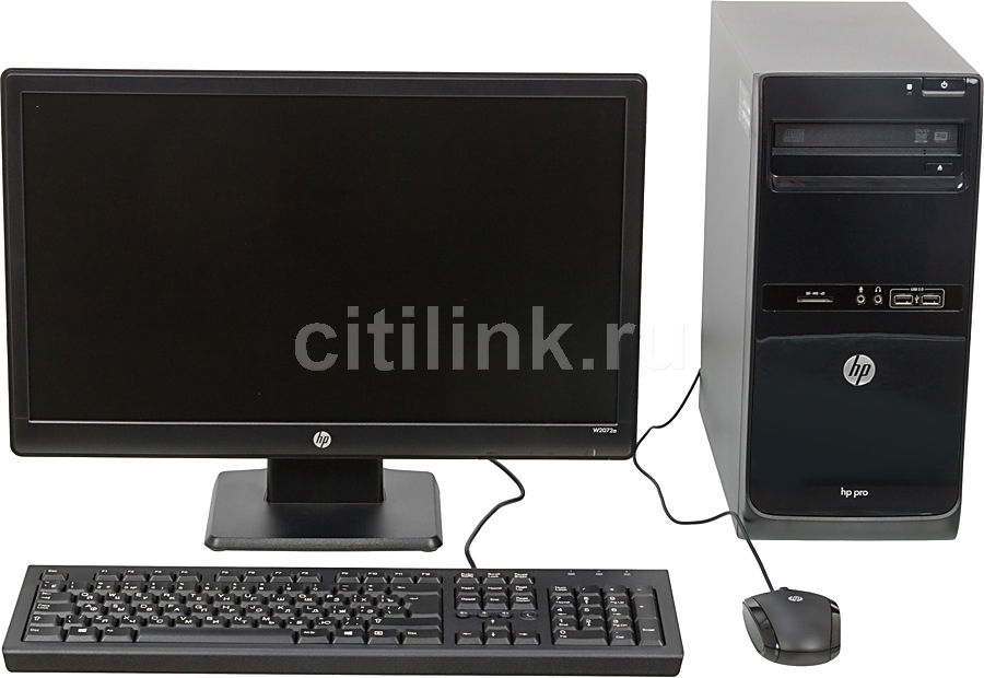 Компьютер  HP Pro 3500 MT + монитор W2072a (комплект),  Intel  Core i3  3220,  DDR3 2Гб, 500Гб,  Intel HD Graphics 2500,  DVD-RW,  Free DOS,  черный [c5y11ea]