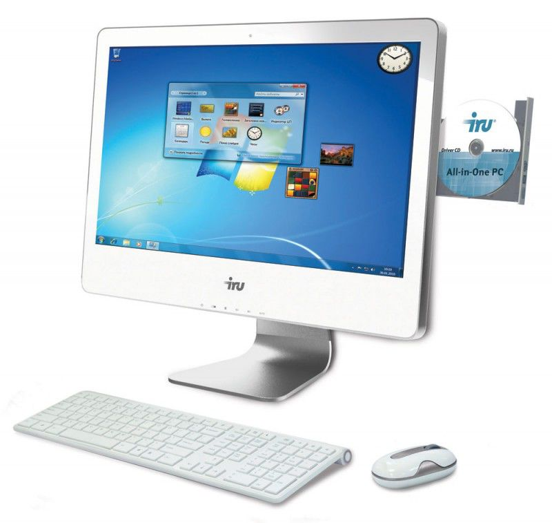 Моноблок IRU 307, Intel Core i3 2120, 4Гб, 500Гб, nVIDIA GeForce GT630M - 1024 Мб, DVD-RW, Windows 7 Professional, белый [741224]
