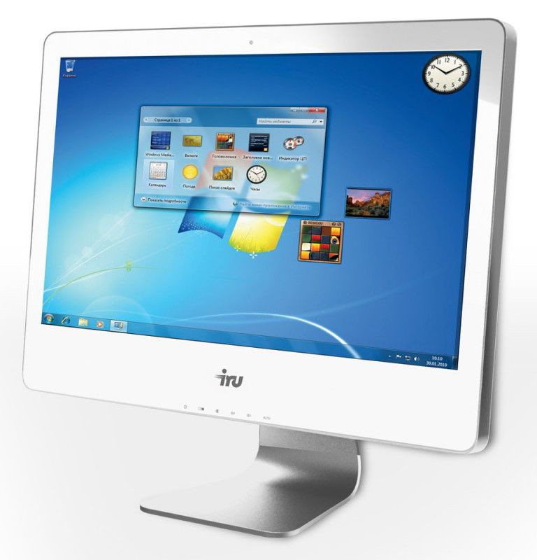 Моноблок IRU 307, Intel Core i3 2120, 4Гб, 500Гб, nVIDIA GeForce GT630M - 1024 Мб, DVD-RW, Free DOS, белый