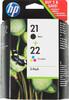 Двойная упаковка картриджей HP 21+22 SD367AE,  многоцветный / черный вид 1