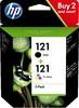 Набор картриджей HP 121 CN637HE,  черный / трехцветный вид 1