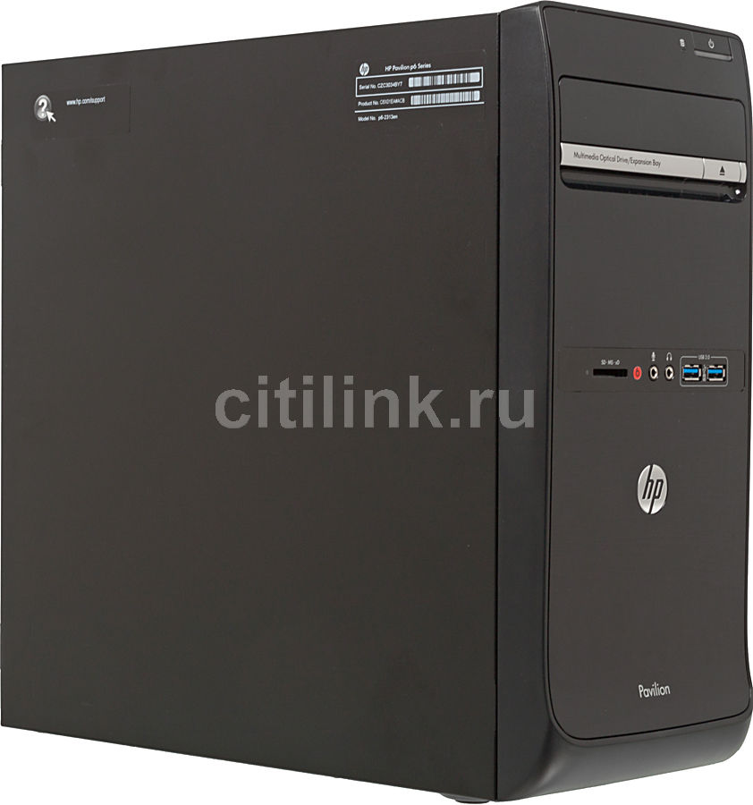 Компьютер  HP Pavilion p6-2316en,  Intel  Core i7  3770,  DDR3 8Гб, 2Тб,  nVIDIA GeForce GT640 - 3072 Мб,  DVD-RW,  CR,  Windows 8,  черный [c6w67ea]