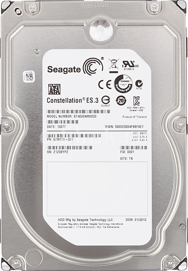 Жесткий диск SEAGATE Constellation ES.3 ST4000NM0033,  4Тб,  HDD,  SATA III,  3.5