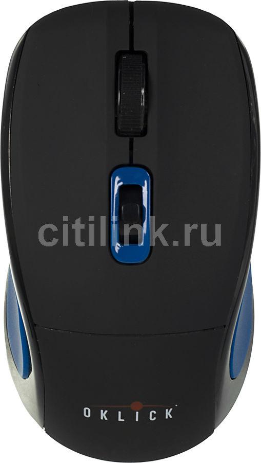 Мышь OKLICK 425MW оптическая беспроводная USB, черный и синий [wm-721]