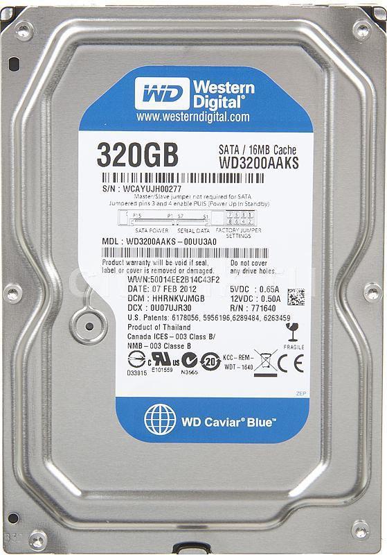 """Жесткий диск WD Caviar Blue WD3200AAKS,  320Гб,  HDD,  SATA II,  3.5"""""""