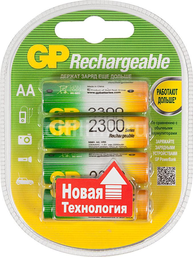 AA Аккумулятор GP 230AAHC,  4 шт. 2300мAч