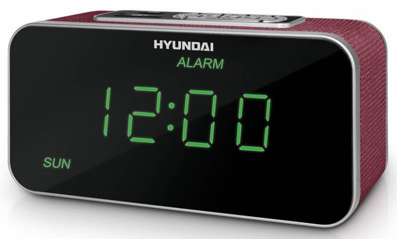 Радиобудильник HYUNDAI H-1503U, зеленая подсветка,  красный
