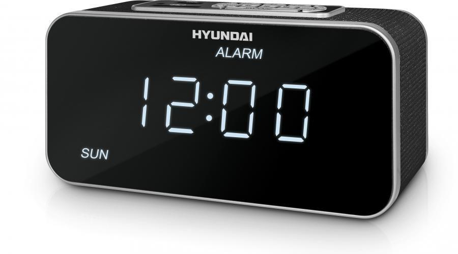Радиобудильник HYUNDAI H-1503U, белая подсветка,  черный