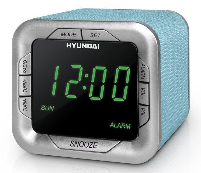 Радиобудильник HYUNDAI H-1505U, зеленая подсветка,  светло-голубой