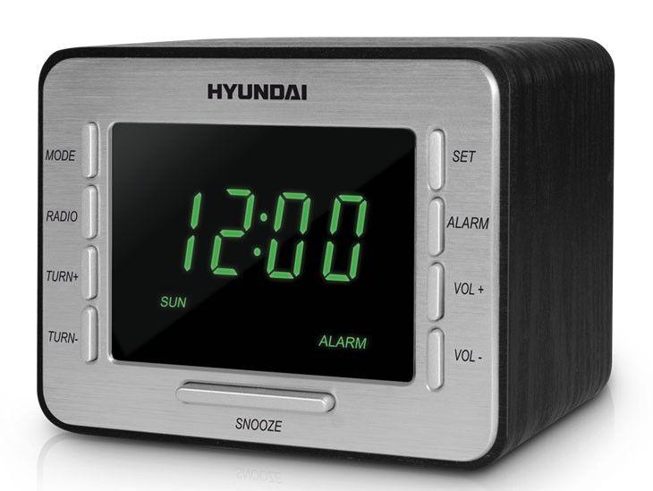 Радиобудильник HYUNDAI H-1508, зеленая подсветка,  черный