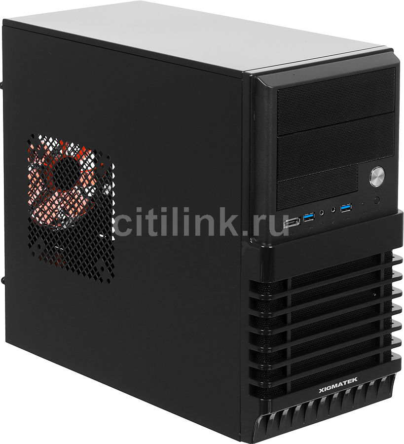 Корпус mATX XIGMATEK Helios 232, Mini-Tower, без БП,  черный