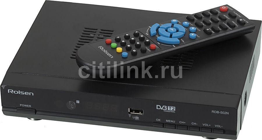 Ресивер DVB-T2 ROLSEN RDB-502N,  черный