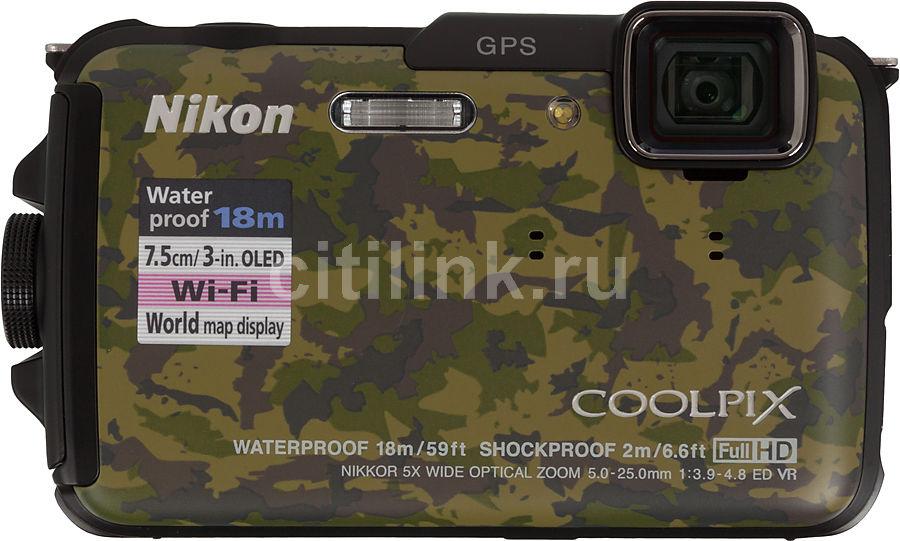 Цифровой фотоаппарат NIKON CoolPix AW110,  темно-зеленый/ коричневый