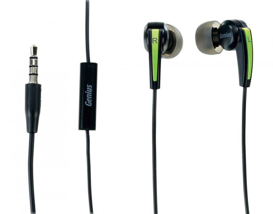 Наушники с микрофоном GENIUS HS-M220,  вкладыши, черный  / зеленый [31710175101]