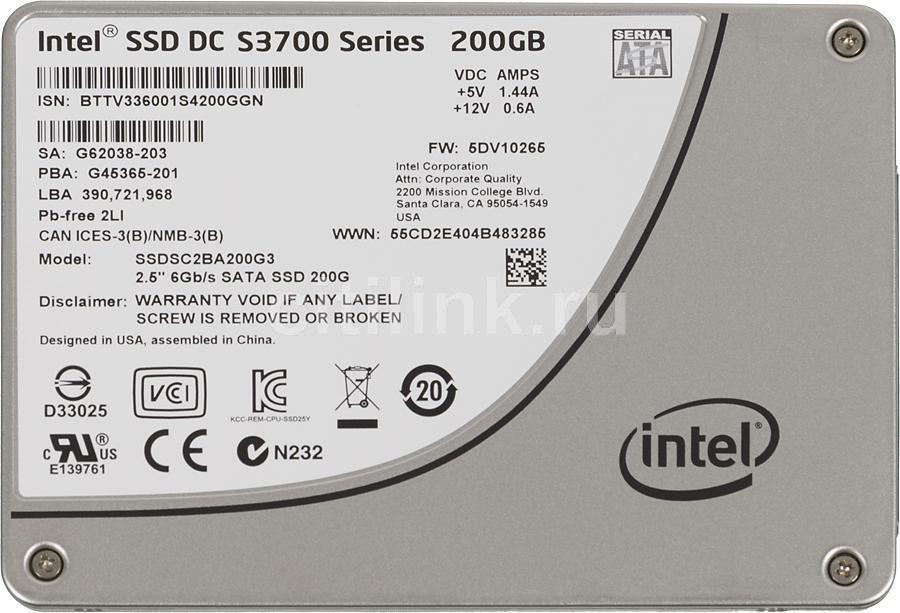 SSD накопитель INTEL S3700 SSDSC2BA200G301 200Гб, 2.5