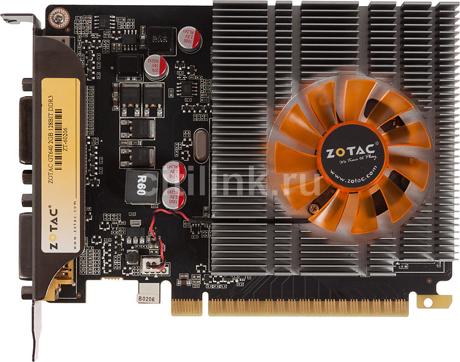 Видеокарта ZOTAC GeForce GT 640 Synergy, ZT-60206-10B,  2Гб, DDR3, oem