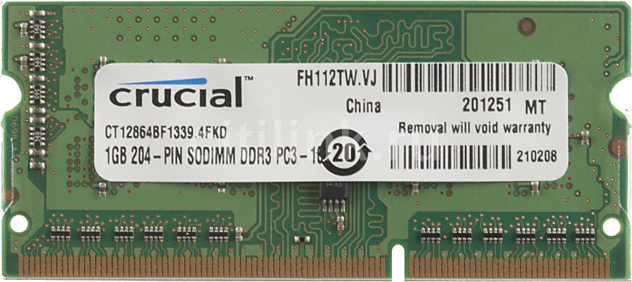 Модуль памяти CRUCIAL CT12864BF1339 DDR3L -  1Гб 1333, SO-DIMM,  Ret