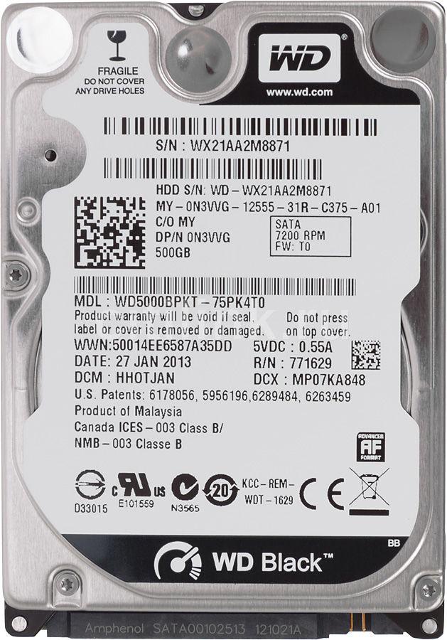 Жесткий диск WD Scorpio Black WD5000BPKT,  500Гб,  HDD,  SATA II,  2.5