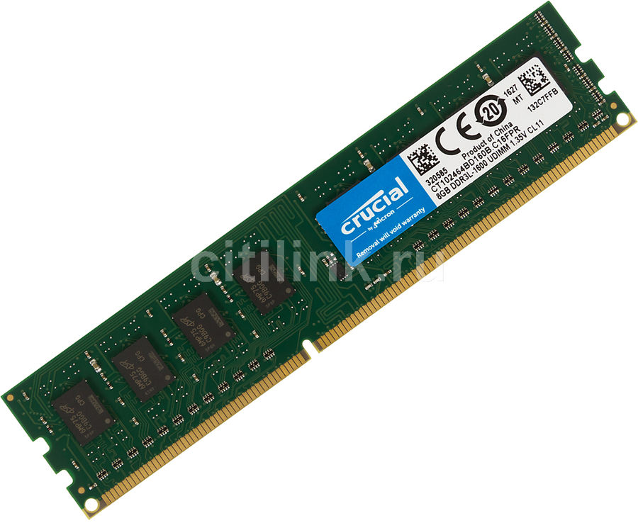Модуль памяти CRUCIAL CT102464BD160B DDR3L -  8Гб 1600, DIMM,  Ret
