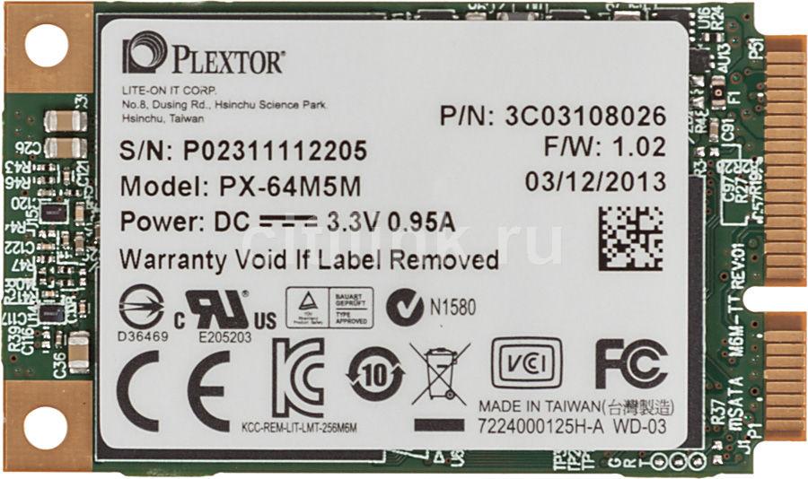 Накопитель SSD PLEXTOR PX-64M5M 64Гб, mSATA, SATA III