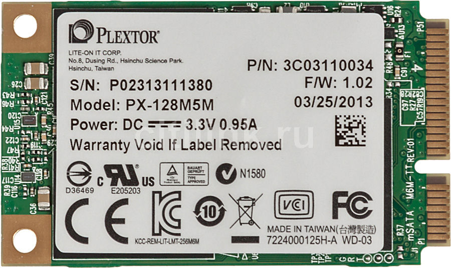 Накопитель SSD PLEXTOR PX-128M5M 128Гб, mSATA, SATA III