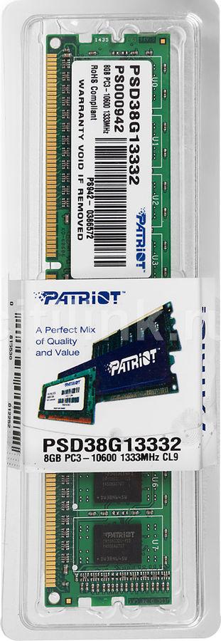 Модуль памяти PATRIOT PSD38G13332 DDR3 -  8Гб 1333, DIMM,  Ret