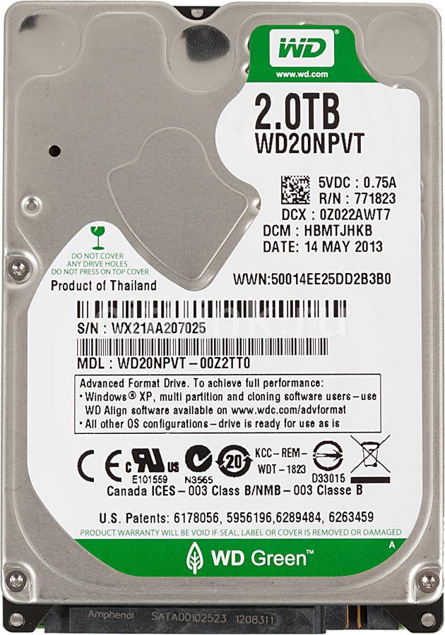 Жесткий диск WD Green WD20NPVT,  2Тб,  HDD,  SATA II,  2.5