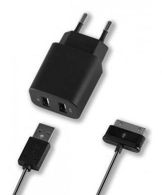Сетевое зарядное устройство DEPPA 11304,  2xUSB,  30-pin (Samsung),  3.1A,  черный