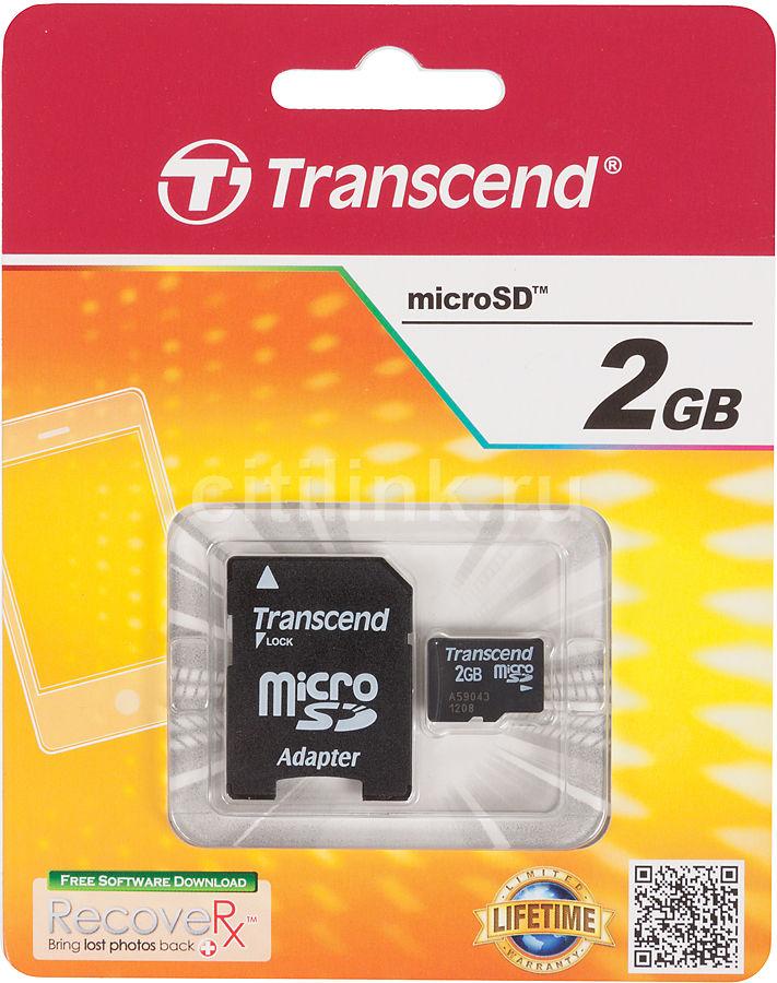Карта памяти microSD TRANSCEND 2 ГБ, TS2GUSD,  1 шт., переходник SD