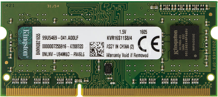 Модуль памяти KINGSTON VALUERAM KVR16S11S8/4 DDR3 -  4Гб 1600, SO-DIMM,  Ret