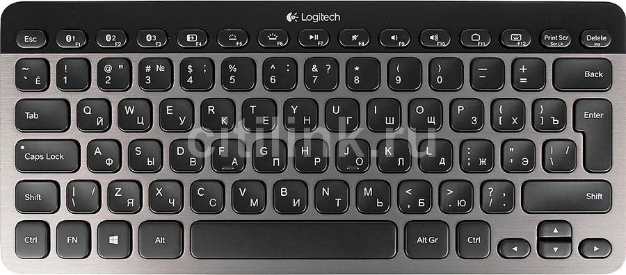 Клавиатура LOGITECH Illuminated K810,  bluetooth, беспроводная, серый + черный [920-004322]