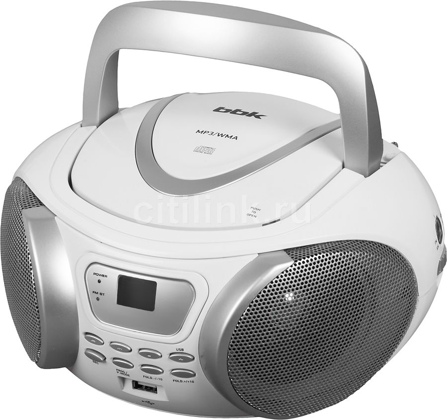 Аудиомагнитола BBK BX107U,  белый