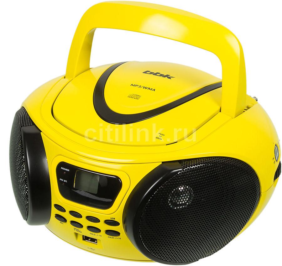 Аудиомагнитола BBK BX107U,  желтый и черный