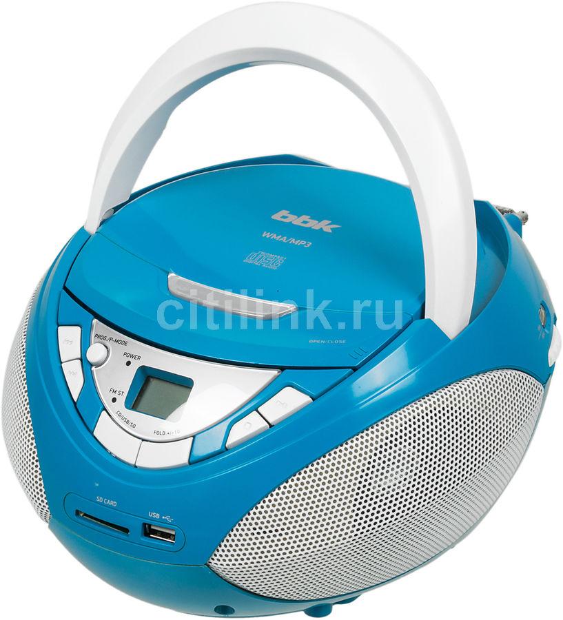 Аудиомагнитола BBK BX108U,  голубой и серебристый
