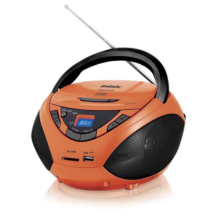Аудиомагнитола BBK BX108U,  оранжевый и черный