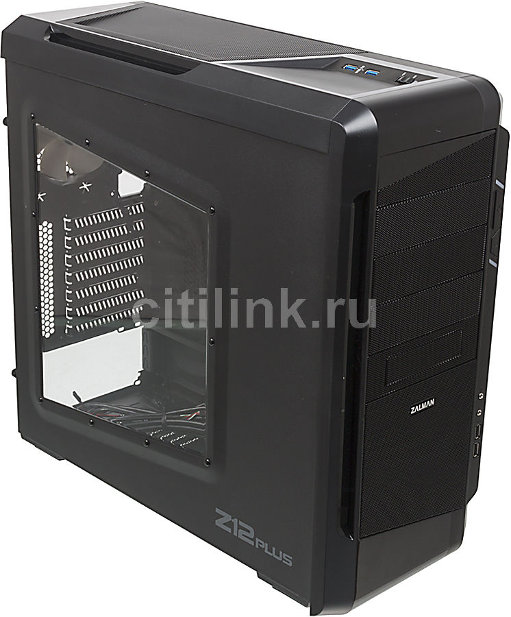 Корпус ATX ZALMAN Z12 Plus, Midi-Tower, без БП,  черный