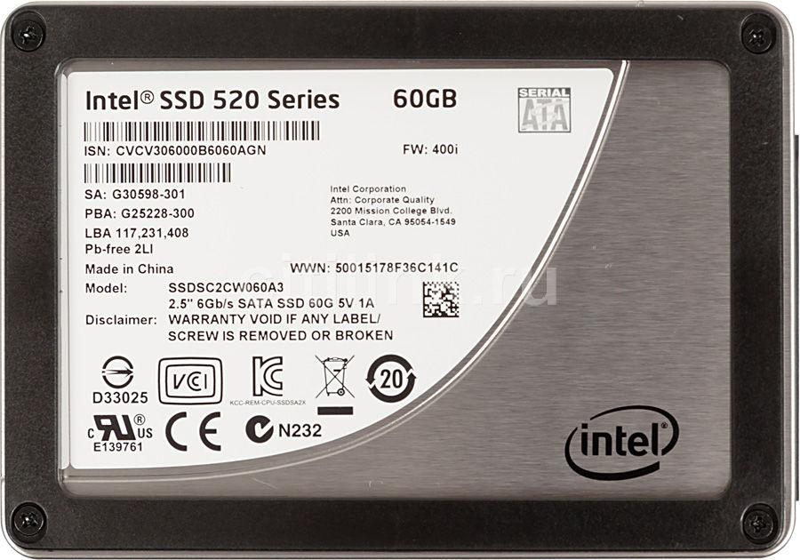 SSD накопитель INTEL 520 Series SSDSC2CW060A310 60Гб, 2.5