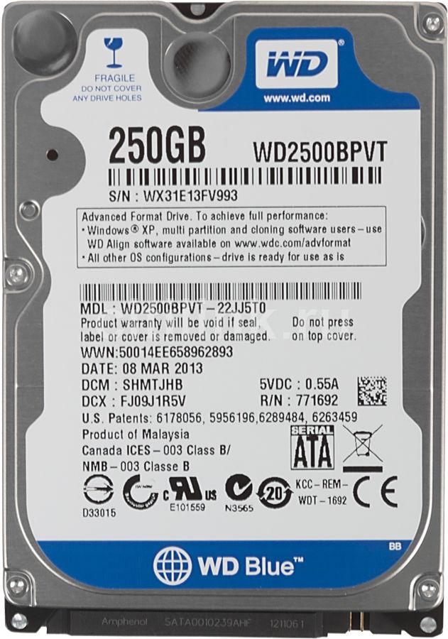 Жесткий диск WD Scorpio Blue WD2500BPVT,  250Гб,  HDD,  SATA II,  2.5