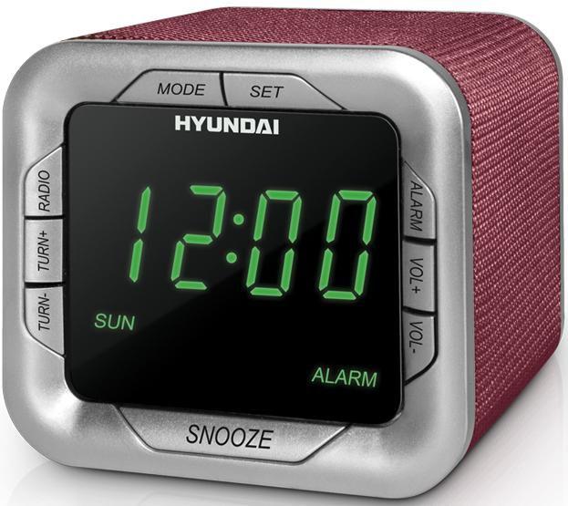 Радиобудильник HYUNDAI H-1505, зеленая подсветка,  бордовый