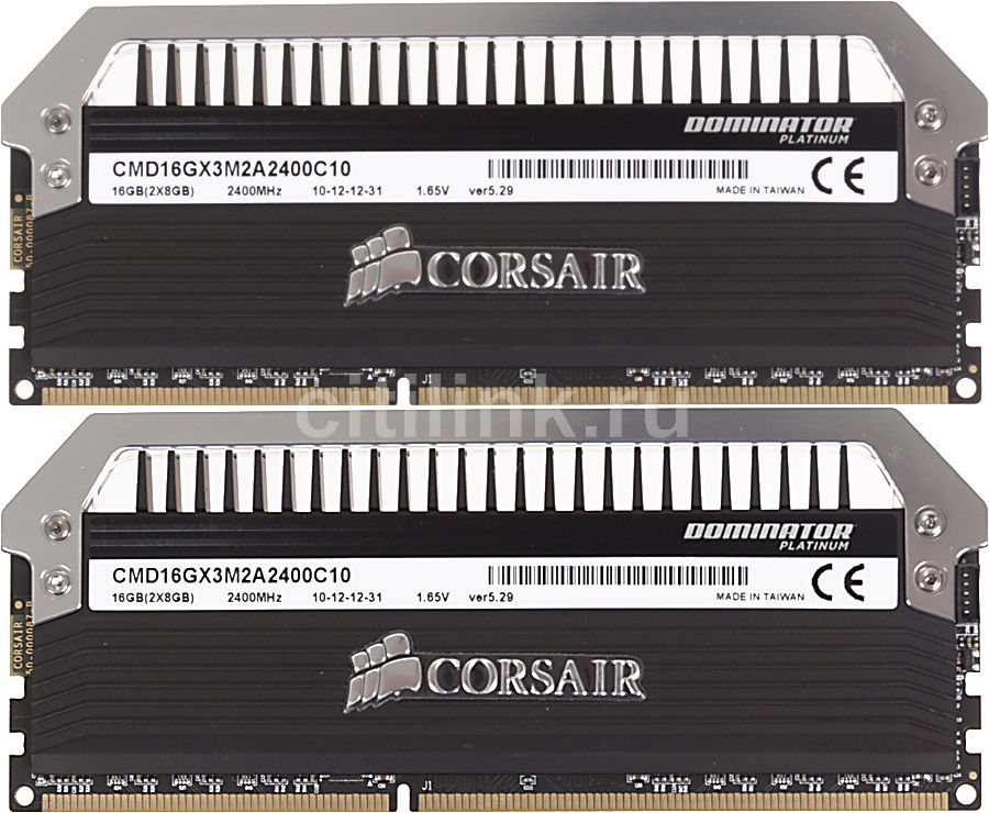 Модуль памяти CORSAIR DOMINATOR PLATINUM CMD16GX3M2A2400C10 DDR3 -  2x 8Гб 2400, DIMM,  Ret