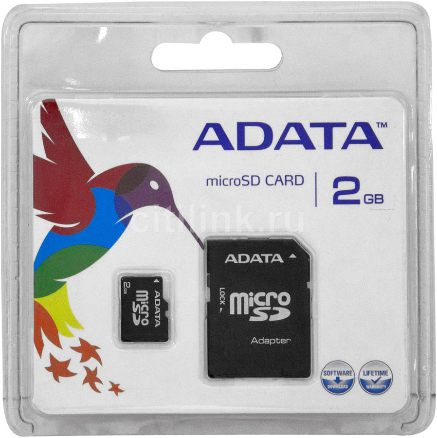 Карта памяти microSD A-DATA My Flash 2 ГБ, AUSD2GZ-RA1,  1 шт., переходник SD