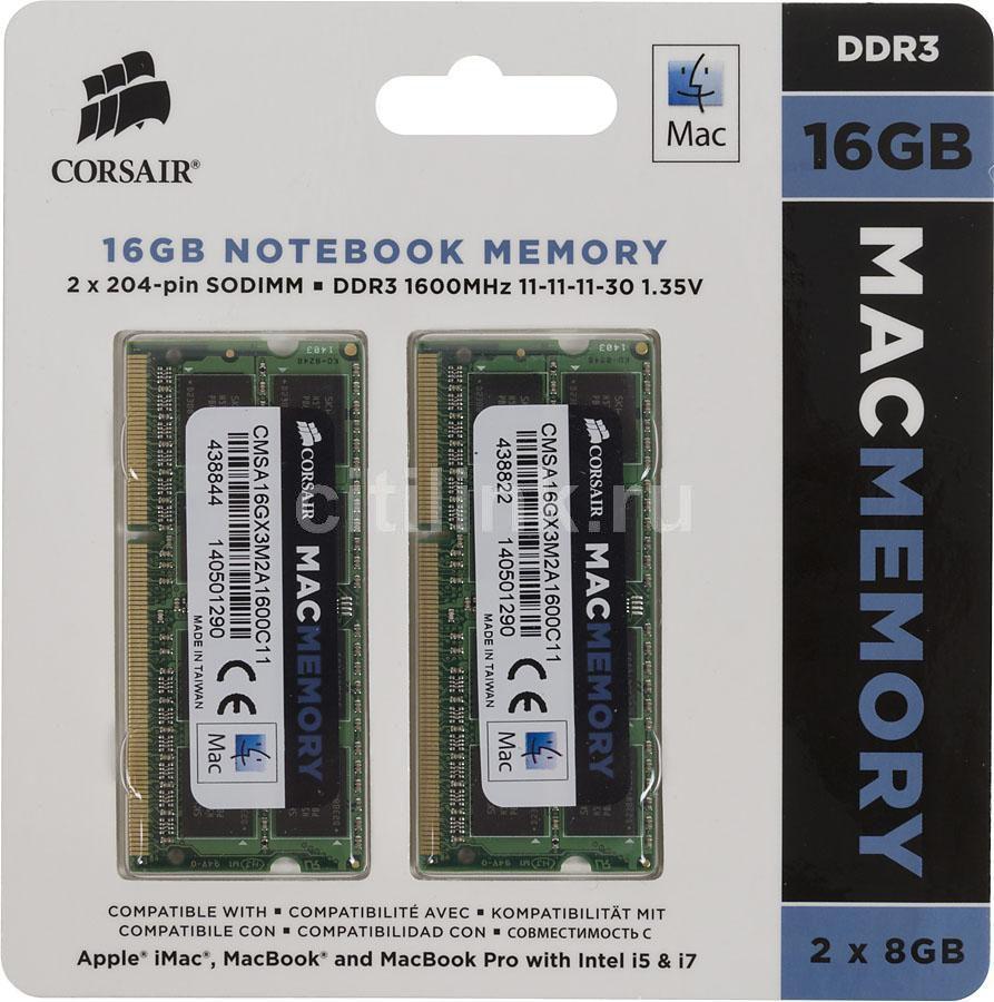 Модуль памяти CORSAIR CMSA16GX3M2A1600C11 DDR3L -  2x 8Гб 1600, SO-DIMM,  Mac Memory,  Ret