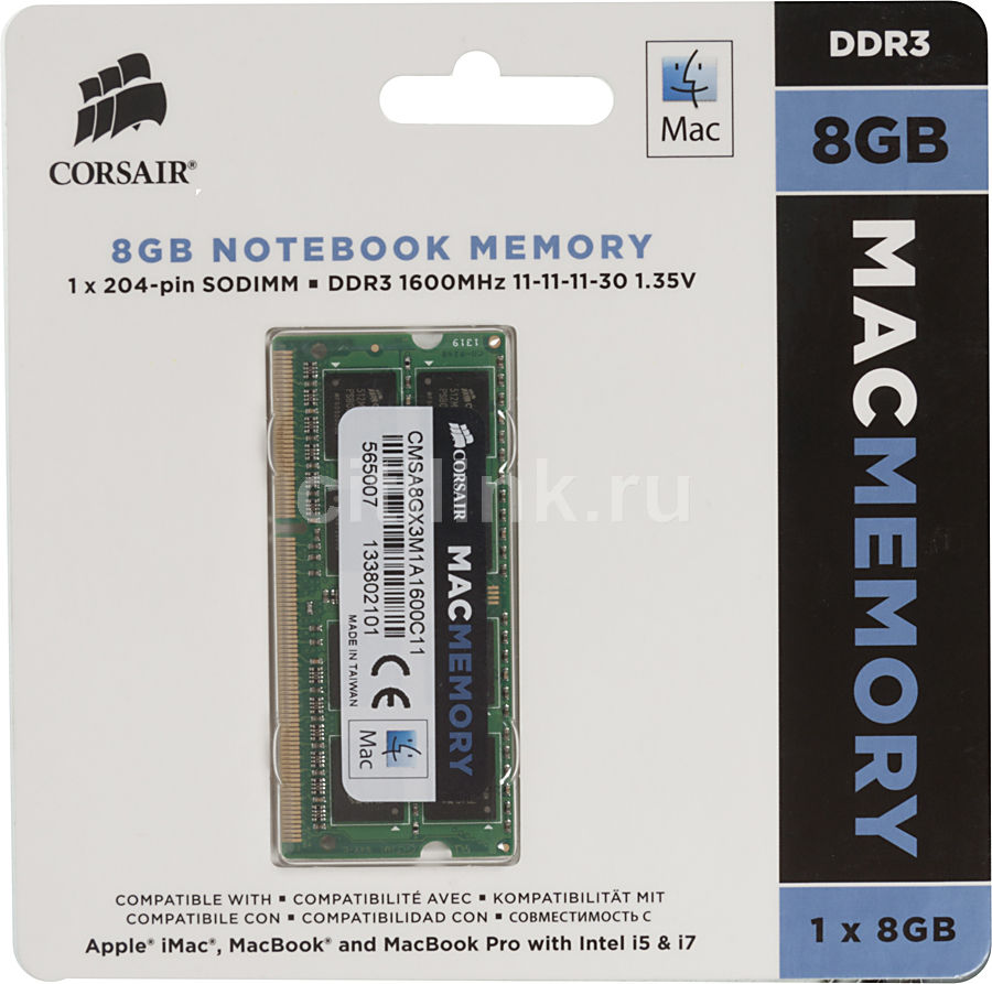 Модуль памяти CORSAIR CMSA8GX3M1A1600C11 DDR3L -  8Гб 1600, SO-DIMM,  Mac Memory,  Ret