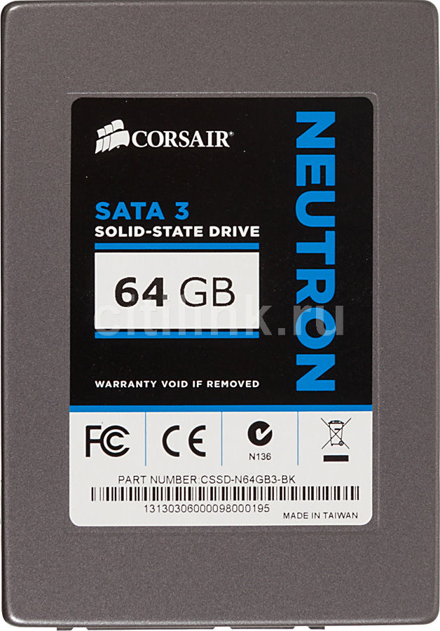 SSD накопитель CORSAIR Neutron CSSD-N64GB3-BK 64Гб, 2.5