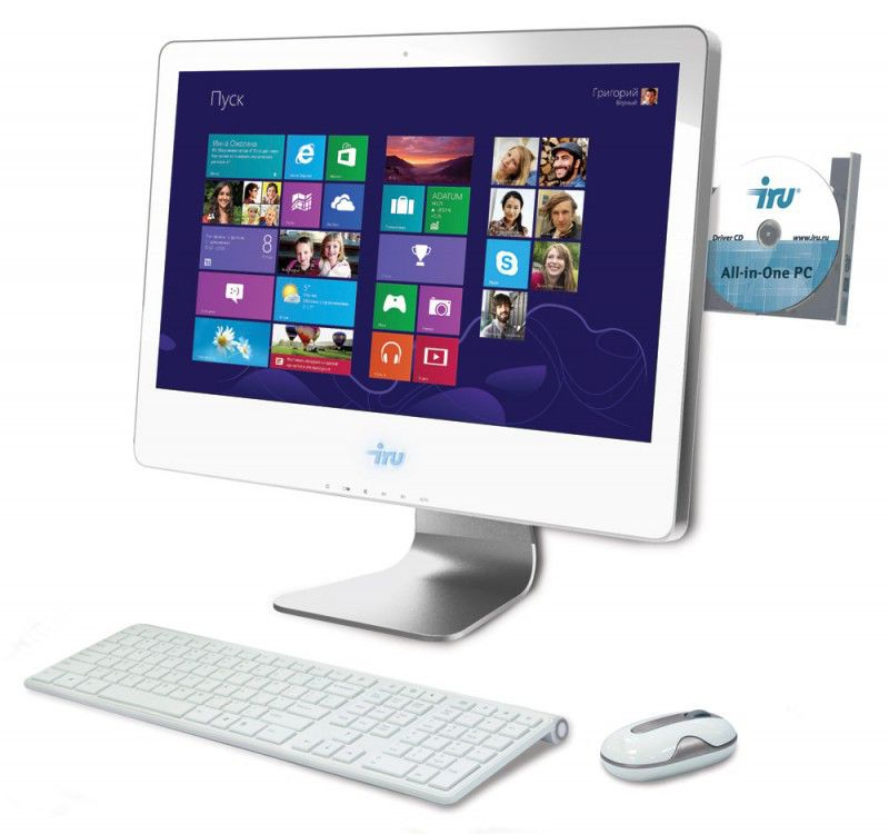 Моноблок IRU 307, Intel Core i3 3220, 4Гб, 500Гб, Intel GeForce GT630M - 1024 Мб, DVD-RW, Windows 8, белый