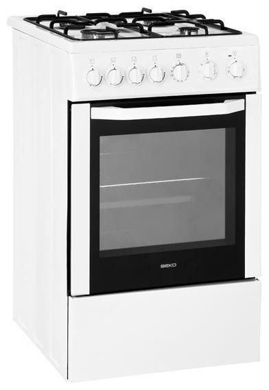 Газовая плита BEKO CSE 52110 GW,  электрическая духовка,  белый