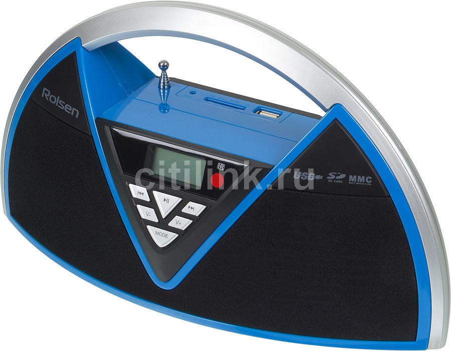 Аудиомагнитола ROLSEN RBM-215MURBU,  синий и черный