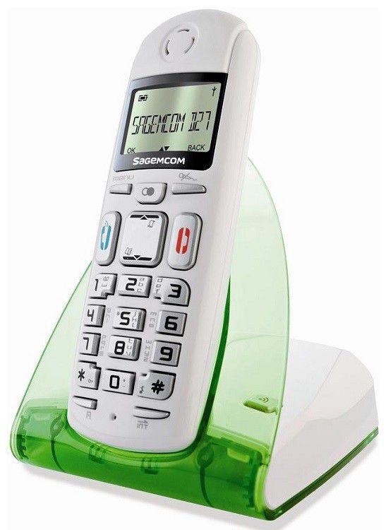 Радиотелефон SAGEMCOM D27T,  белый и зеленый [d27t green]