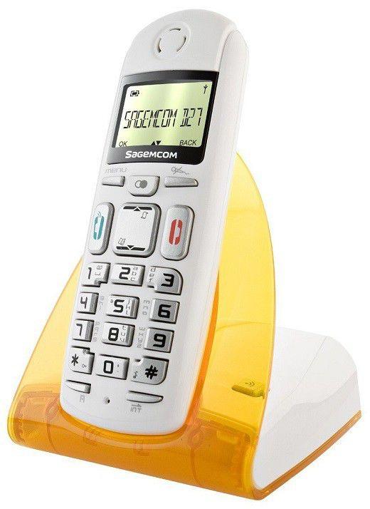 Радиотелефон SAGEMCOM D27T,  белый и оранжевый [d27t orange]